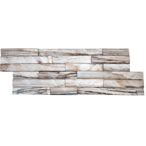 Parement mural en bois de bateau recyclé patiné blanc - 11 pcs