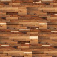 Parement mural en bois teck recyclé bruni - 11 pcs