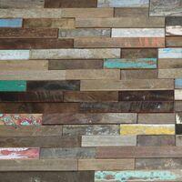 Parement mural en bois recyclé ultra vieilli - 6 pcs