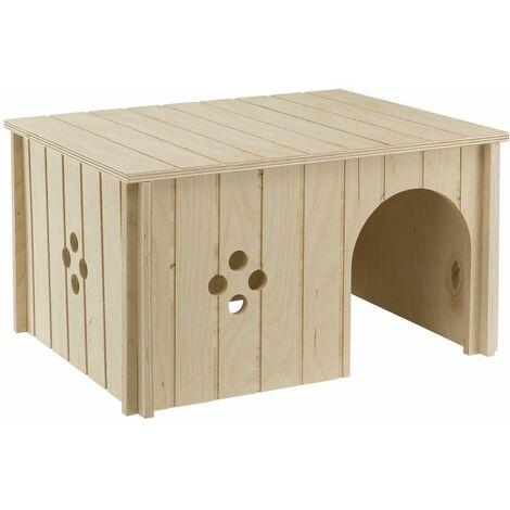 Ferplast SIN 4646 Maisonette  pour lapins en bois FSC. Variante SIN 4647 - Mesures: 37 x 27,7 x h 20 cm -