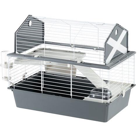 Ferplast BARN 80 Cage pour lapins avec accessoires et adhésifs. Agencement style grange américaine.. Variante  - Mesures: 78 x 48 x h 65 cm - Gris - Gris