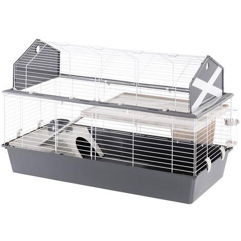 Ferplast BARN 120 Cage pour lapins avec accessoires et adhésifs. Agencement style grange américaine.. Variante  - Mesures: 119 x 58 x h 77 cm - Gris - Gris