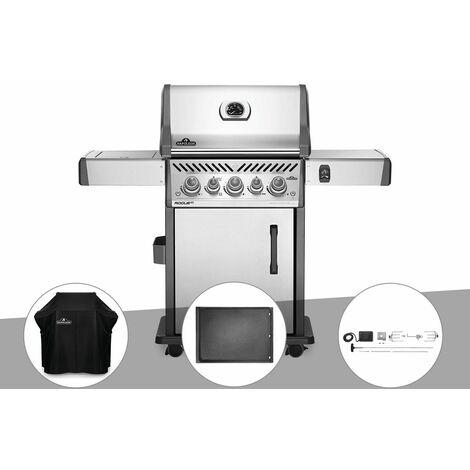 Barbecue à gaz Napoleon Rogue SE 425 inox 3 brûleurs + Housse de protection + Plancha + Rôtissoire