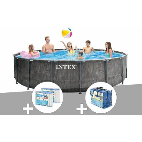Kit piscine tubulaire Intex Baltik ronde 4,57 x 1,22 m + 6 cartouches de filtration + Bâche à bulles - Gris