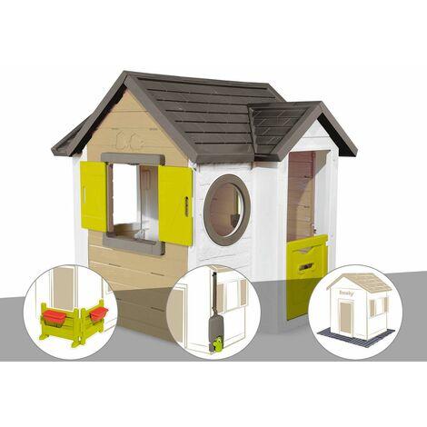 Cabane enfant Smoby My New House + Espace jardin + Récupérateur d'eau + 2 Sets de 6 dalles