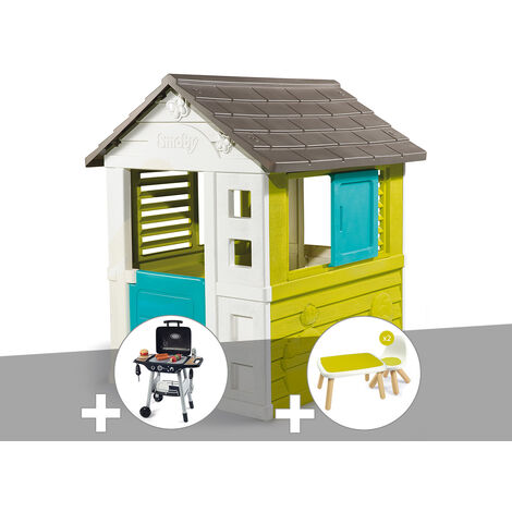 Cabane enfant Pretty - Smoby + Barbecue / Plancha + Table et 2 chaises