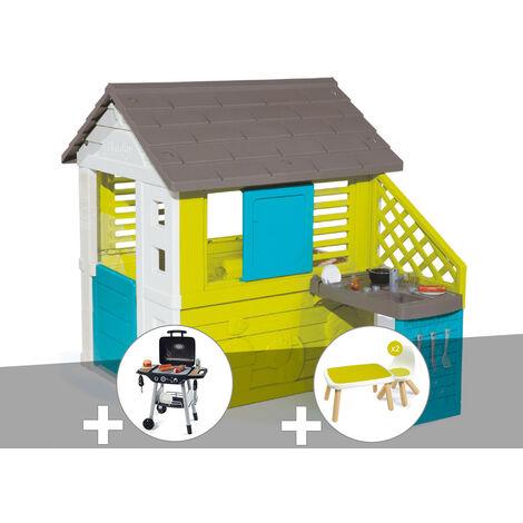 Cabane enfant Pretty + Cuisine d'été - Smoby + Barbecue / Plancha + Table et 2 chaises