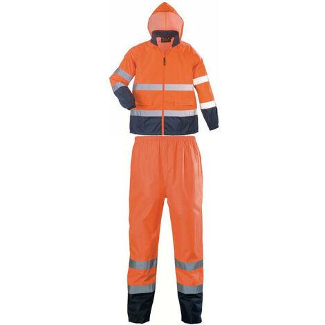 Ensemble de pluie haute visibilité Coverguard HI WAY Orange / Marine XL