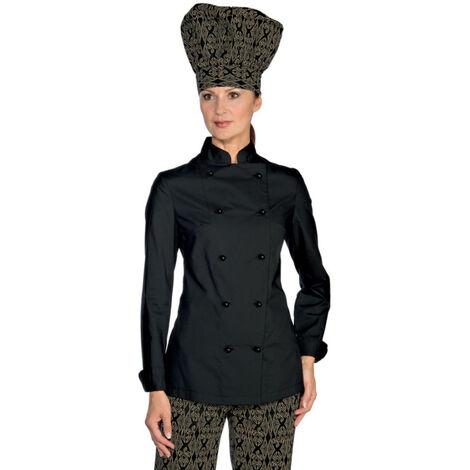 Veste de cuisine femme Ultra Légère noire Isacco Extra Light Noir L