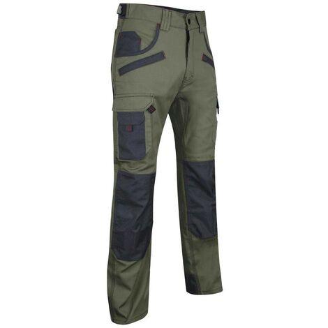 Pantalon de travail bicolore avec poches genouilléres LMA Secateur Kaki / Gris 46