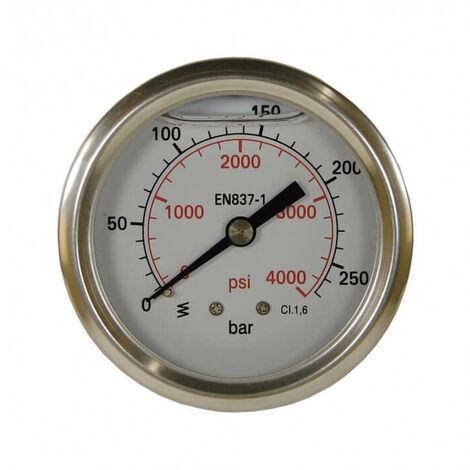Manometre 63mm 0-250 bar fixation axial 1/4