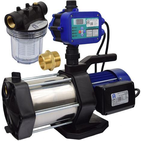 Agora-Tec® Hauswasserautomat Hauswasserwerk 5-1300-15DW-1L mit Vorfilter Ausschaltdruck einstellbar