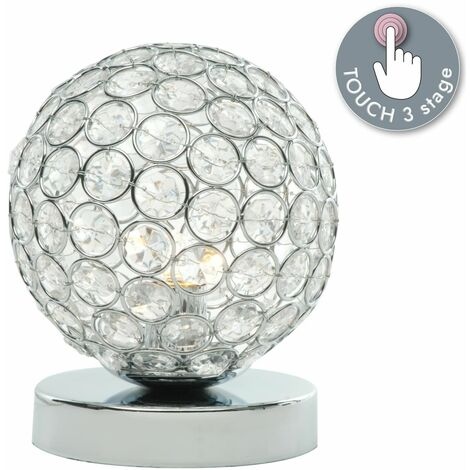 Chrome and Crystal 28W G9 Touch Table Lamp