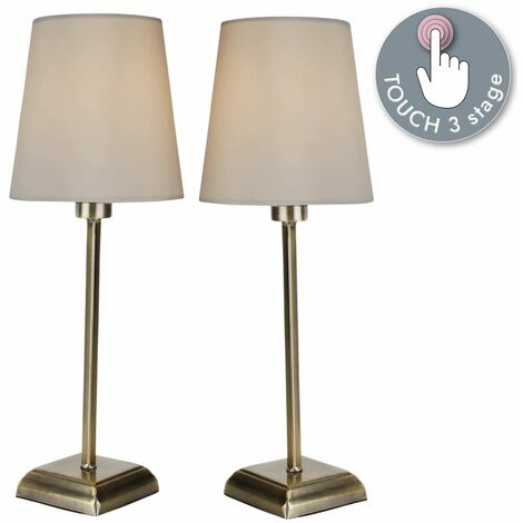 Pair of Antique Brass Touch Lamps With Ivory Fabric Shades