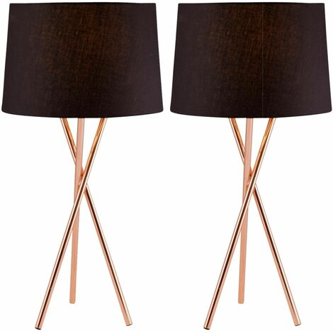 Pair Copper Tripod Table Lamp with Black Fabric Shade