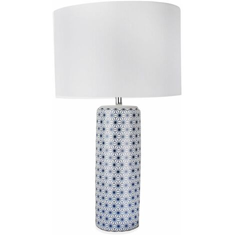 White and Navy Blue Moorish Decal 52cm Table Lamp