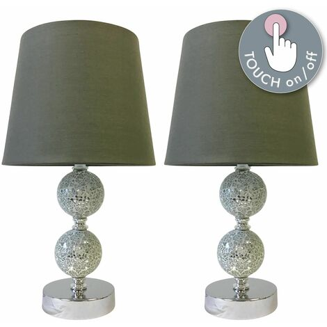 Set of 2 Mosaic Touch Lamps with Grey Shades