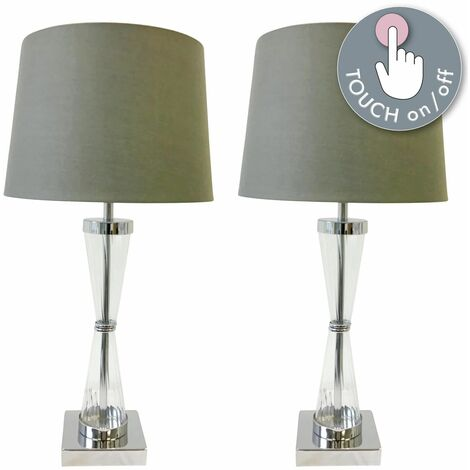 Set of 2 Chrome Touch Lamps with Grey Cotton Shades