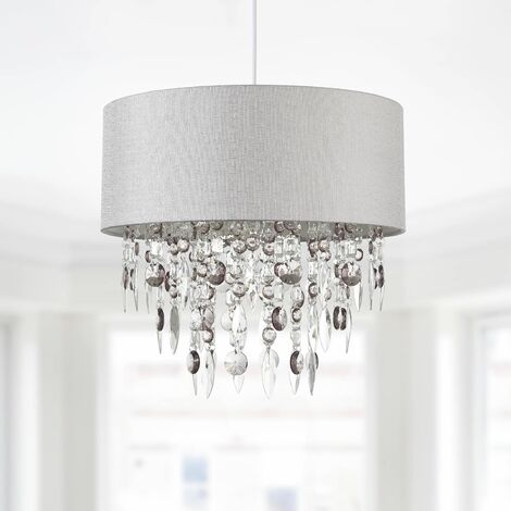 Modern Antique Brass and Clear Jewelled Easy Fit Ceiling Light Shade Chandelier