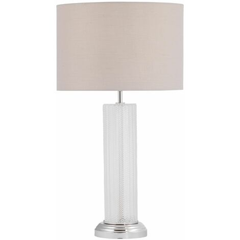 Saffron - 59cm Textured Table Lamp with Grey Shade