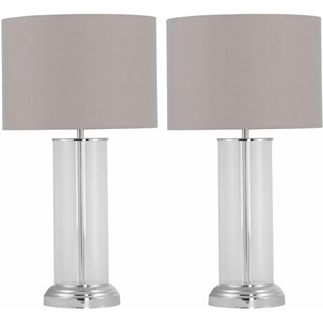 Set of 2 Chelmsford - 53cm Column Touch Lamps with Grey Shade