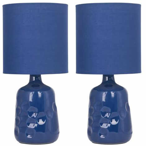 Set of 2 Dimple 29cm Navy Lamps