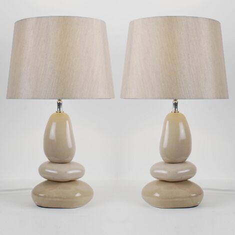 Set of 2 Ceramic Pebble 43cm Lamps
