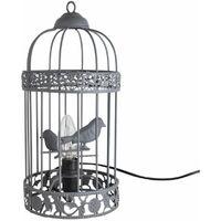 Grey Birdcage Table Lamp / Bedside Light