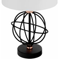 Set of 2 Orb - Black with Copper Detail 46cm Table Lamps