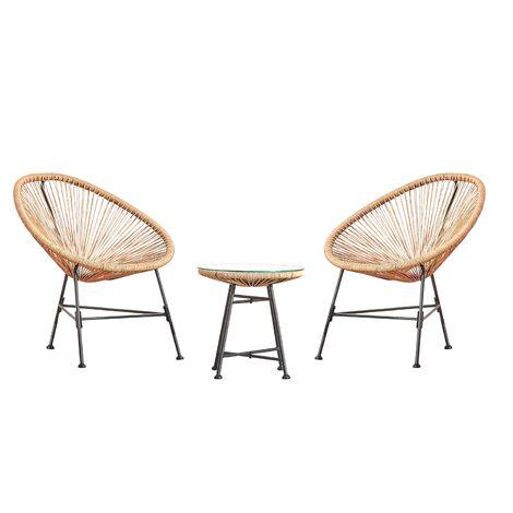 Acapulco beige 2 chaises et 1 table - Beige