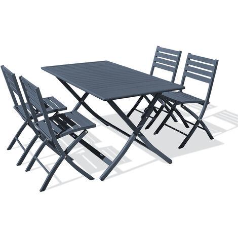 Ensemble table de jardin MARIUS pliante en aluminium 140x80