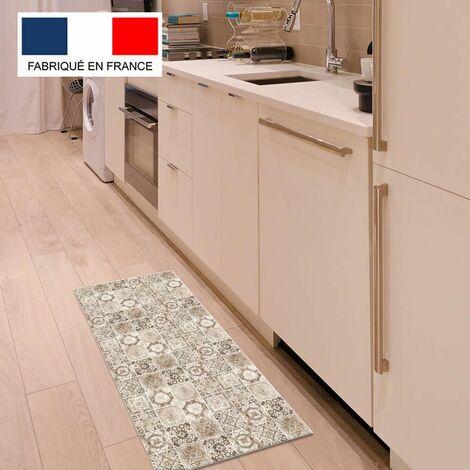 Tapis cuisine en vinyle pvc Tarkett 49,5x109 pour sol cuisine sous évier ou salle de bains- style carreaux de ciment motif Valence