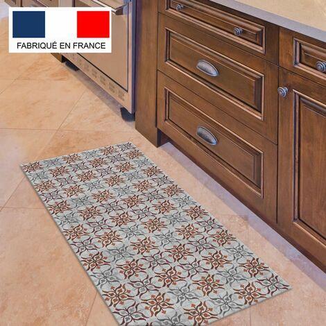 Tapis cuisine en vinyle pvc Tarkett 49,5x109 pour sol cuisine sous évier ou salle de bains- style carreaux de ciment motif Séville