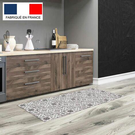 Tapis cuisine en vinyle pvc Tarkett 49,5x109 pour sol cuisine sous évier ou salle de bains- style carreaux de ciment motif Tolède