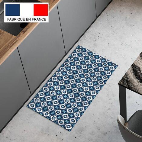 Tapis cuisine en vinyle pvc Tarkett 49,5x109 pour sol cuisine sous évier ou salle de bains- style carreaux de ciment motif Bilbao