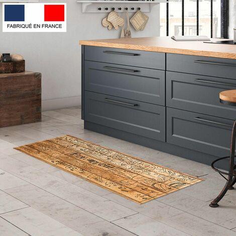 Tapis cuisine en vinyle pvc Tarkett 49,5x109 pour sol cuisine sous évier ou salle de bains- style bistrot motif bon appétit