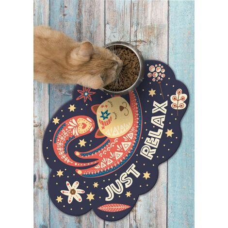 Tapis alimentation animaux en vinyle Tarkett 39,5x43 pour sol cuisine sous gamelle chat chien - non toxique - motif chat just relax
