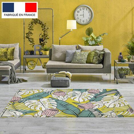 Tapis décoration vinyle Tarkett 80x120 pour salon chambre bureau - style tropical motif mix feuilles jaunes