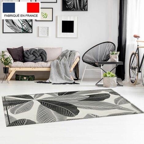 Tapis décoration vinyle Tarkett 80x120 pour salon chambre bureau - style tropical motif feuilles noir et blanc