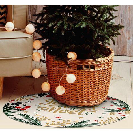 Tapis décoration de fêtes- tapis en vinyle Tarkett -  diamètre 90 - Motif joyeux Noël Blanc