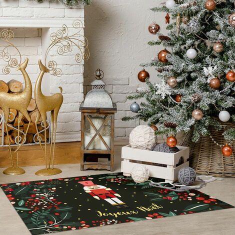 Tapis décoration en vinyle Tarkett - salon ou sous cheminée - 49,5x83 - Motif joyeux noel vert