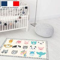 Tapis de jeu en vinyle Tarkett 49,5x83 pour chambre d'enfant - haute qualité non toxique - motif têtes d'animaux