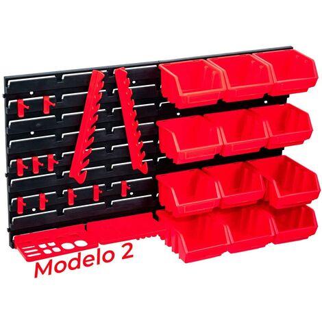 Organizador de Herramientas PARED Plástico Panel Bandejas para Taller Mecánico, Bricolaje o Garaje (Modelo 2 - 27 piezas)