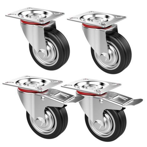 Lenkrollen 4 Stück Transportrollen mit Bremse Schwerlastrollen Laufrolle Gummiert Lenkbar 75mm 180 kg Tragkraft