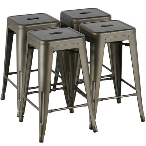 4x Barhocker Metall Barstuhl Tresenhocker Küchenhocker Bistrohocker Höhe 61cm stapelbar Industrie Design