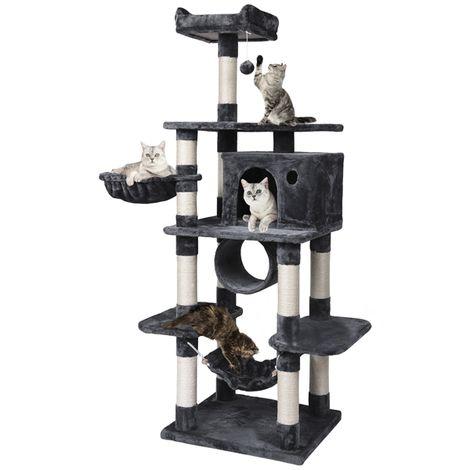 Katzenbaum Kratzbaum Kletterbaum 176 cm Katzenmöbel Stabil Kratzbäume mit Sisal-Seil Plüsch Liege und großer Plattform für größe Katzen