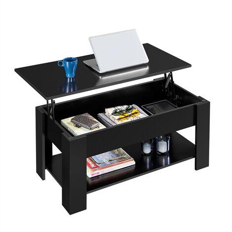 Couchtisch mit Höhenverstellbarer Platte Kaffeetisch ausziehbarer Wohnzimmertisch Sofatisch für Wohnzimmer und Büro, schwarz