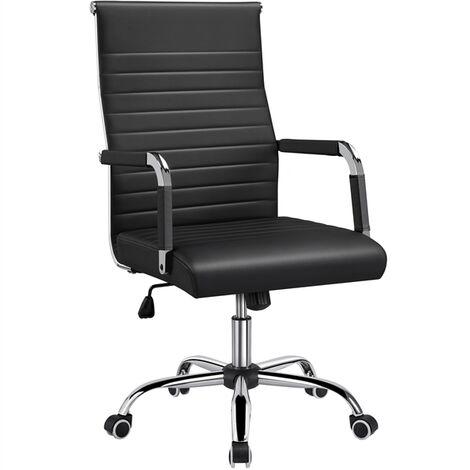 Bürostuhl Drehstuhl Arbeitshocker Drehocker Kunstleder Chefsessel mit hoher Rücklehne,Schwarz