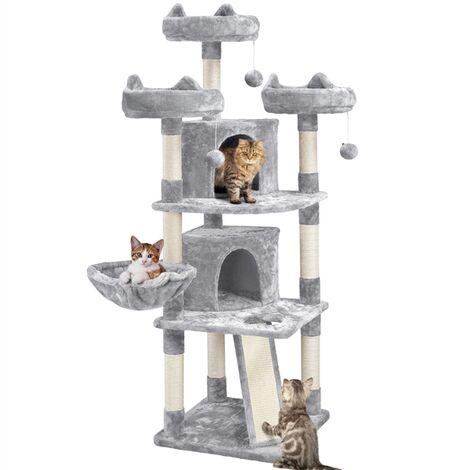 Kratzbaum Katzenkratzbaum 174 cm Katzenbaum Groß Kletterbaum 3 kuschelige Aussichtplattformen Spielhaus für Katzen