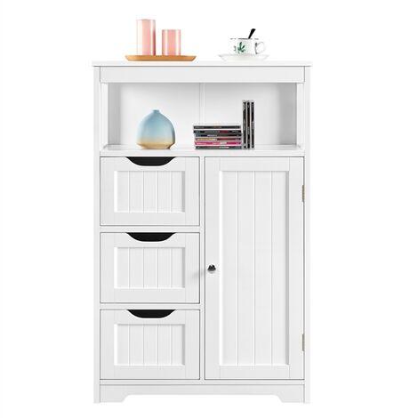 Badezimmerschrank, Badschrank aus Holz mit 3 Schubladen für Wohnzimmer und Schlafzimmer, 55,5 x 29,5 x 86,5 cm